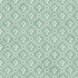 Pálido - fundo transversal verde e branco da repetição do teste padrão da telha do símbolo ilustração stock
