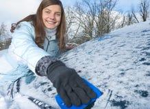Pára-brisa do inverno da mulher Fotografia de Stock Royalty Free