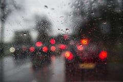Pára-brisas chuvoso do carro Foto de Stock Royalty Free