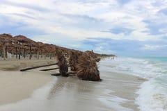 Pára-sóis caídos na praia, Cuba, Varadero Imagem de Stock