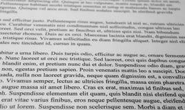 Párrafos del texto del lorem ipsum fotografía de archivo