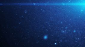 Párticulas de polvo orgánicas flotantes hermosas del color azul en fondo negro en la cámara lenta Animación colocada 3D dinámico ilustración del vector