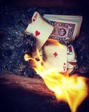 Pás reais do flash do casino dos cartões de jogo foto de stock