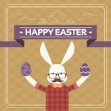 Páscoa Bunny Hipster Style Mustache Glasses que guarda o ovo ilustração stock