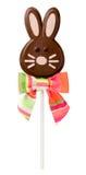 Páscoa Bunny Lollipop do chocolate fotografia de stock royalty free