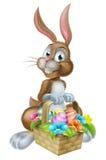 Páscoa Bunny Rabbit com a cesta do cabaz dos ovos Imagens de Stock
