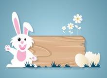 Páscoa, coelho e ovos muito felizes com sinal de madeira ilustração royalty free