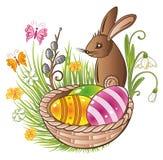 Páscoa, coelho, ovos Fotografia de Stock