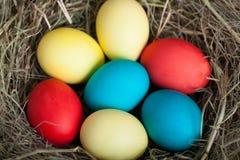 A Páscoa coloriu ovos em um ninho da palha Fotos de Stock Royalty Free