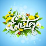 Páscoa do título com flores da mola Vetor Foto de Stock