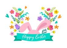 Páscoa feliz, coelho com projeto das flores Venda da Páscoa e conceito do feriado do cartão Foto de Stock Royalty Free