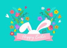 Páscoa feliz, coelho com projeto das flores Venda da Páscoa e conceito do feriado do cartão Imagens de Stock Royalty Free