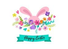 Páscoa feliz, coelho com projeto das flores Venda da Páscoa e conceito do feriado do cartão Fotos de Stock Royalty Free