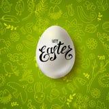 Páscoa feliz com ovo realístico Fotos de Stock