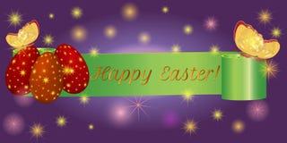 Páscoa feliz com ovos, borboleta da bandeira da fita Foto de Stock Royalty Free
