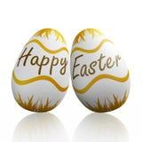 Páscoa feliz escrita em ovos Fotografia de Stock Royalty Free