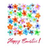 Páscoa feliz - flores da aquarela ilustração royalty free