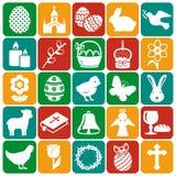Páscoa feliz! Grupo de ícones do vetor Foto de Stock Royalty Free