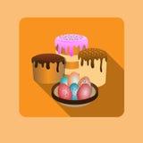 Páscoa feliz, ovos, bolos ilustração stock