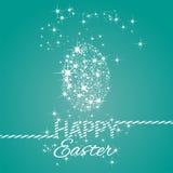 A Páscoa feliz stars o fundo do verde de mar do ovo ilustração do vetor