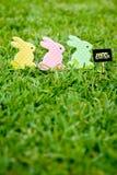 Páscoa feliz - três coelhinhos da Páscoa Imagem de Stock
