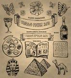 Páscoa judaica - ícones judaicos do feriado Imagens de Stock Royalty Free