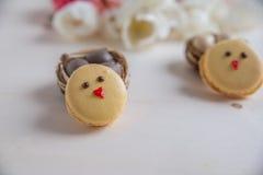 Páscoa Macarons com ovos da páscoa Imagens de Stock