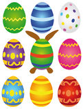 Páscoa - ovos da páscoa arranjados Imagens de Stock Royalty Free