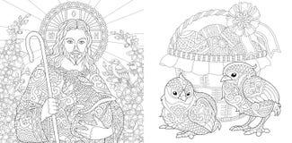 Páscoa Páginas da coloração Livro para colorir para adultos  Vetor ilustração royalty free