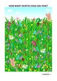 A Páscoa temático aprende a contagem do enigma visual da matemática com ovos e os coelhos pintados ilustração royalty free