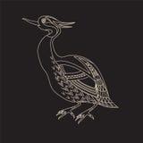 Pássaro abstrato decorativo decorativo, isolado no preto Foto de Stock Royalty Free