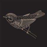 Pássaro abstrato decorativo decorativo, isolado no preto Fotos de Stock Royalty Free