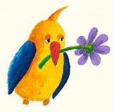 Pássaro amarelo-azul engraçado com flover Foto de Stock