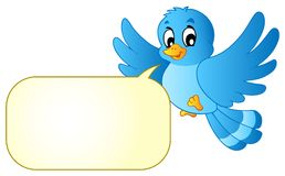 Pássaro azul com bolha da banda desenhada Imagens de Stock