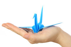 Pássaro azul do papel japonês da sorte Fotografia de Stock Royalty Free