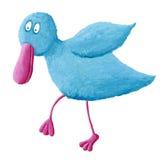 Pássaro azul engraçado ilustração royalty free