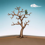 Pássaro azul pequeno na árvore. ilustração 3d Imagem de Stock Royalty Free