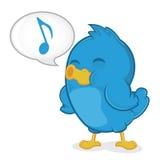 Pássaro azul que canta Imagens de Stock