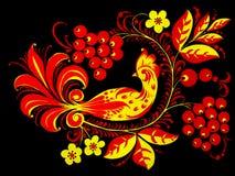Pássaro, bagas e flores ilustração royalty free