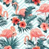 Pássaro bonito do flamingo e fundo tropical das flores Vetor sem emenda do teste padrão ilustração stock