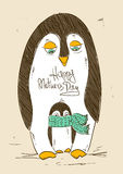 Pássaro bonito do pinguim com seu pintainho Fotos de Stock Royalty Free