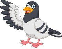Pássaro bonito do pombo que apresenta no fundo branco ilustração royalty free