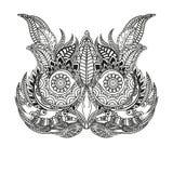 Pássaro branco preto tirado mão da mosca da coruja da ilustração Página do livro de Art Coloring Esboço preto e branco bonito com ilustração royalty free