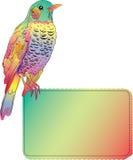 Pássaro brilhante com bandeira em branco Fotos de Stock