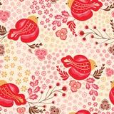 Pássaro brilhante do vetor sem emenda e fundo floral do teste padrão da repetição do vintage Aperfeiçoe para a tela, bens de pape ilustração do vetor