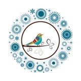 Pássaro colorido dos flocos de neve bonitos da coleção  ilustração royalty free