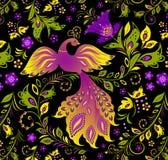 Pássaro colorido e planta abstrata Fotos de Stock