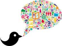 Pássaro com bolha social do discurso dos meios Imagem de Stock