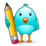 Pássaro com lápis Imagens de Stock Royalty Free
