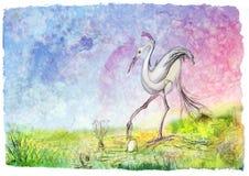 Pássaro com um ovo ilustração royalty free